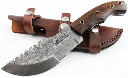 Tracker knife – Moorhaus Handmade Damascus Walnut Wood Handle – Tracker Tactical Bushcraft – Includes Leather Sheath – Special promotional price.