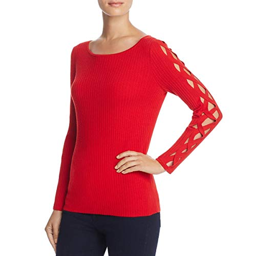 (Ramy Brook Womens Kimila Ribbed Knit Open Sleeves Crewneck Sweater Red XS)