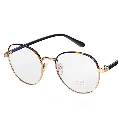 XUANXITG Light Circle Frame Glasses Metal Matted Mirror Near Glasses Frame (Color : ()