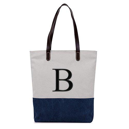(Embroidered Monogram Name Duotone Blue Women Casual Canvas Shoulder Bags Bag Messenger Bag Zipper Tote Bags)