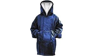 Rongo Oversized Sweatshirt Hoodie Blanket for Men, Women & Kids – Double-Sided with Sherpa & Plush Fleece Lining – Kangaroo Pocket Giant Hoody with Extra Front Pocket for Mobile Phone, Bottle or Keys