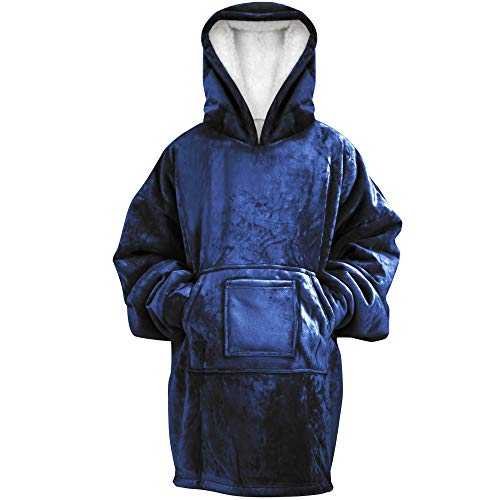 Rongo Oversized Sweatshirt Hoodie Blanket for Men, Women & Kids - Double-Sided with Sherpa & Plush Fleece Lining - Kangaroo Pocket Giant Hoody with Extra Front Pocket for Mobile Phone, Bottle or Keys