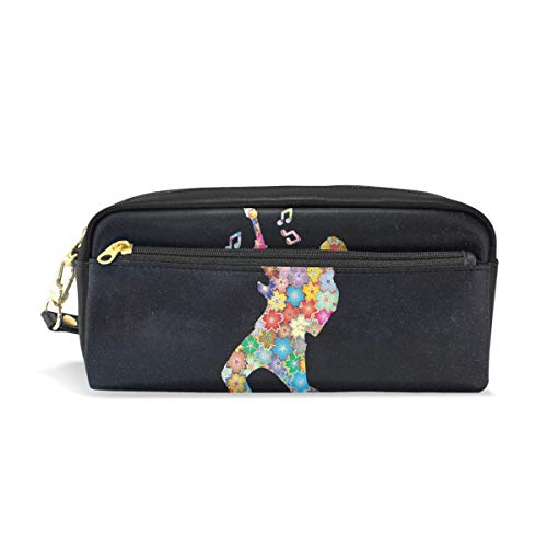 Pencil Case Stylish Print Musician Guitar Guitarist Music Song Singing Art Pattern Large Capacity Pen Bag Makeup Pouch Durable Students Stationery Two Pockets with Double Zipper