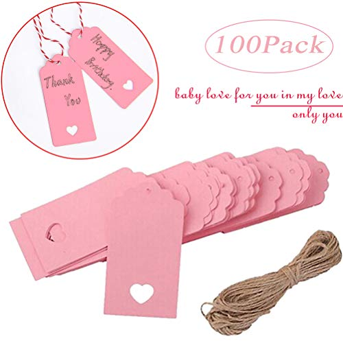 Gift Tags, Kraft Paper,Price Tags with String Craft Tags,Perfect for Arts and Crafts, Wedding Christmas Day Thanksgiving and Holiday, 100PCS (Pink)