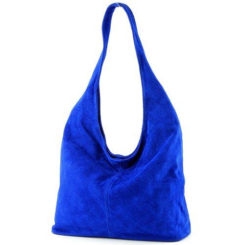 Bag Shoulder Shoulder Bag Damentasche Royal Wildleder de Bag Blue T150 ital modamoda Leather ngY0HRq1