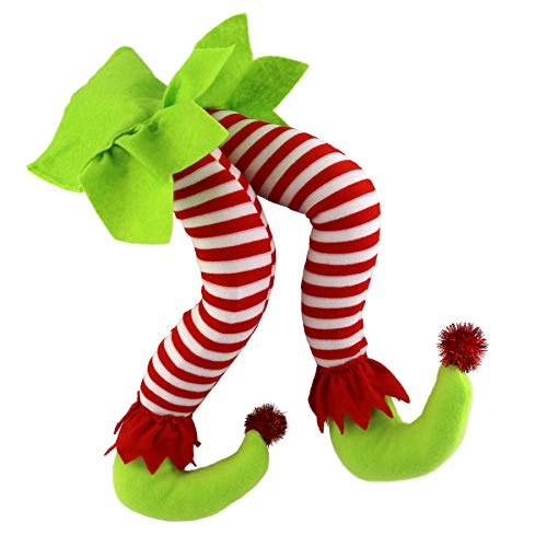(WEWILL 20'' Elf Legs Christmas Decorations Stuffed Legs Christmas Home Party Tree Fireplace Ornaments (Green))