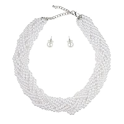 Women's Multi Size Braided Simulated Pearl Bead Necklace and Earring Set supplier