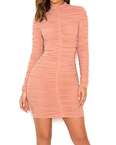 Whoinshop Women's High Neck Long Sleeves Ruched Mesh Bodycon Club Dress (L, Pink)