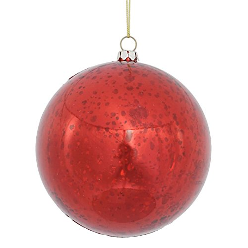 Vickerman M166303 Ball with Mercury Finish in 6 to a Bag, 100mm, Shiny Red ()