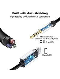 (Apple MFi Certified) Aux Cord for iPhone Xs XR X 8 7 Plus, Aux Cable for Car, Lightning to 3.5 mm Headphone Jack Adapter, Aux Audio Cable Support iOS 12.4.1 & Music Control &  ing