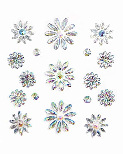 - iHeartRaves Silver Iridescent Daisy Body Gem Stickers for Raves, Music Festivals, Costumes