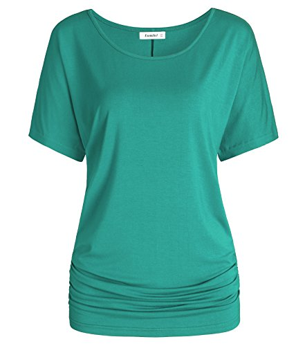 Esenchel Women's Short Sleeve Dolman Top Scoop Neck Drape Shirt 3X Teal Green ()