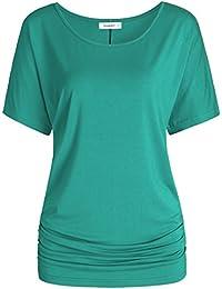 Women's Short Sleeve Dolman Top Scoop Neck Drape Shirt