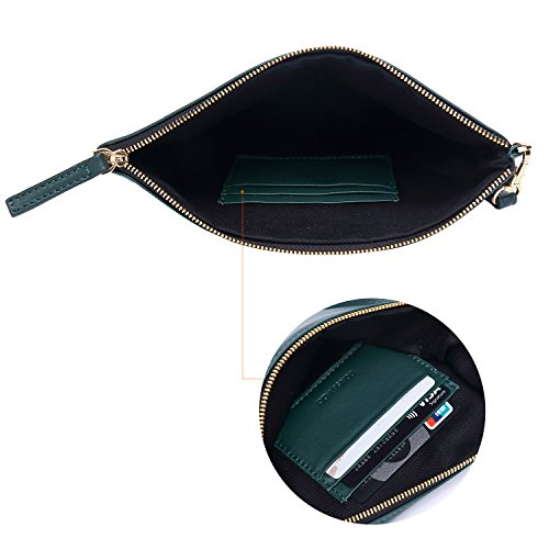 Wristlet Designer Green Genuine Large for Wallets Leather Lambskin Strap With Women Soft Clutch t0Ufqq7