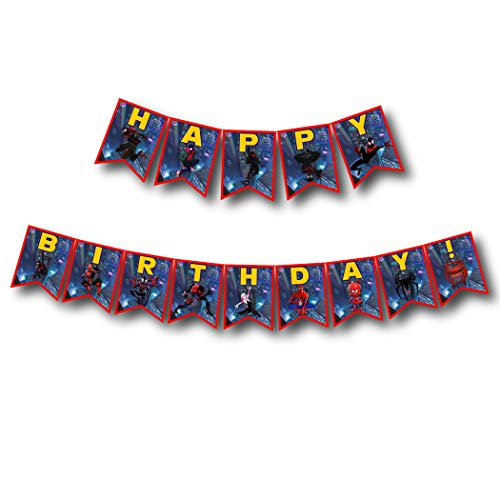 A2ZPlusmore INTO The Spider Verse Birthday Party Bunting Banner, Garland, Flag Pennants ()