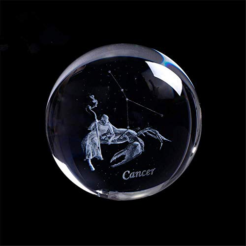 - Haomao Laser Engraved Zodiac Sign Crystal Ball Miniature 3D Crystal Craft Decoration Glass Sphere Home Decoration Accessories Gift (60mm, Cancer)