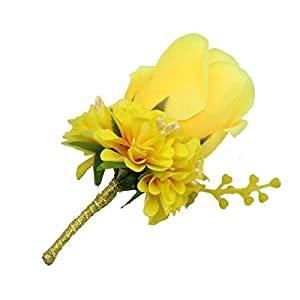 WeddingBobDIY Boutonniere Buttonholes Groom Groomsman Best Man Rose Wedding Flowers Accessories Prom Suit Decoration Yellow 8