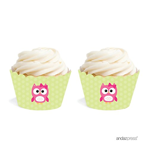 Andaz Press Birthday and Baby Shower Cupcake Wrappers, Girl Owl, 20-Pack, Decor Decorations Wraps Cupcake Muffin Paper (Baby Shower Girl Owl Decorations)