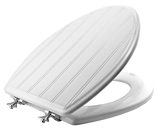 MAYFAIR Beadboard Toilet Seat with Chrome Hinges will Never Loosen, ELONGATED, Durable Enameled Wood, White, 129CPA