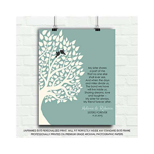 Gift for Sister Family Tree Sister Shares A Part of Me Personalized Gift for Sister from Sisteror Sister-in_Law Wedding Poem Tree Gift for Mom and Dad - 8x10 Unframed Custom Paper Art Print
