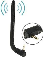 Leluckly1 Multifuncional para Satisfacer Diferentes necesida Antena de FM y TV móvil 6dBi 3.5mm Estilo de flexión (Negro), fácil de Instalar