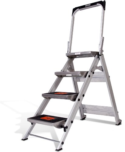 Safety 4 Step Ladder - Little Giant Ladder Systems 10410BA Safety Step Ladder Four Step with Bar, 2 x 11-Inch