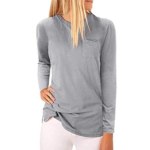 〓COOlCCI〓Women's High Neck Pullover Tops Long Sleeve Blouse Plain T Shirts Pocket Cami Summer Tops Shirts Sweatshirt Gray