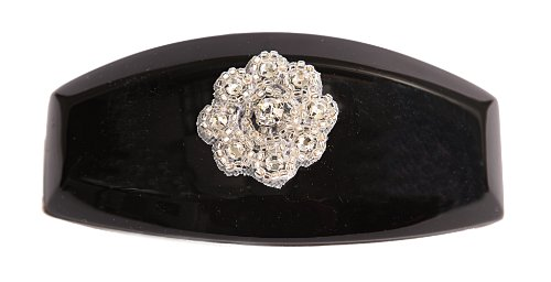 Caravan Hand Decorated French Auto Barrette with Crystal Stones and Bugle Beads Flower Design, Black, Large.65 Ounce