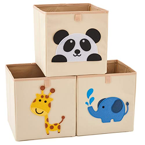 EZOWare Set of 3 Foldable Fabric Basket Bin, Collapsible Storage Cube for Nursery Home, Kids and Toddlers (10.5 x 10.5 x 11 inch, Assorted) (Folding Bins Set Storage)