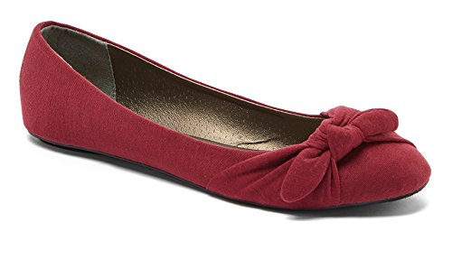 Gathered Bow Flats (Charles Albert Women's Comfortable Slip-On Ballet Flat with Bow in Burgundy Size: 7)