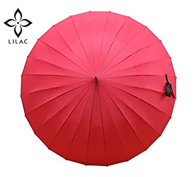 Lila Grande Golf paraguas para las mujeres, obra maestra de Artesano, irrompible, paraguas