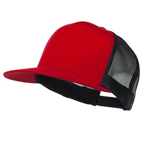 Classic 5 Panel Two Tone Mesh Trucker Snapback Cap - Red Black (Two Tone 5 Panel)