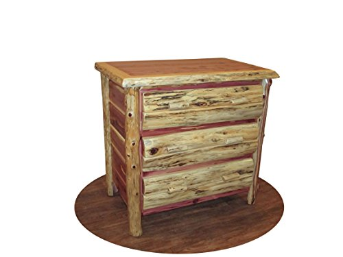 Rustic Red Cedar Log 3 Drawer Chest- Amish Made in the USA ()