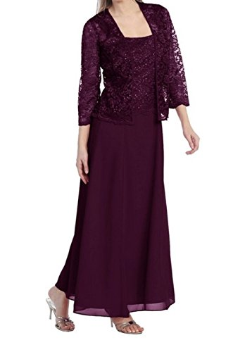 Womens Long Mother of the Bride Plus Size Formal Lace Dress with Jacket (2X, Plum) (Long Plus Size Jacket Dress)