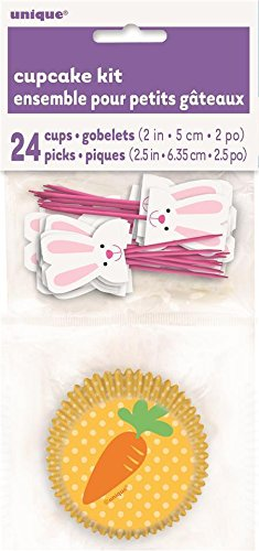 Unique Party Easter Bunny & Carrot Cupcake Cases & Picks (24 of Each)