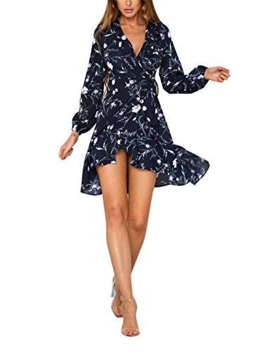Siyinfushi Women Print Long Sleeve Sexy Deep V-neck Casual Summer Mini Dress (XL, 08-Lan)