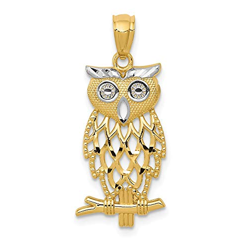 (Real 14kt Yellow Gold Rhodium Plated Diamond Cut Owl)