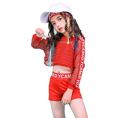 (LOLANTA Girls Hip Hop Dance Outfits Street Dance Clothes Child Dance Costume Red)