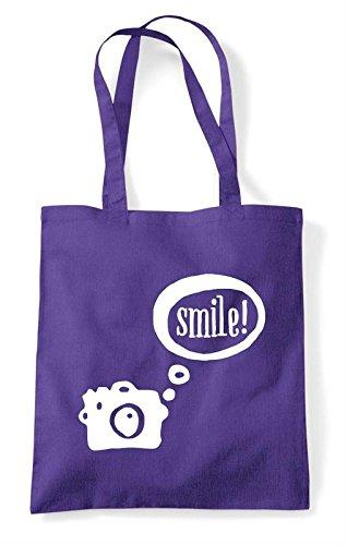 Camera Speech Bubble Tote Shopper Purple Bag Smile rrdHqw