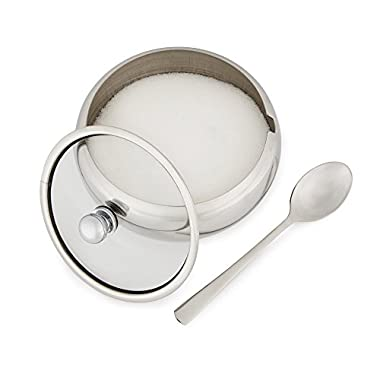 KooK Sugar Bowl Glass Lid With Spoon 0.5L (16.90 Ounces) - Sugar Dispenser Wide Mouth