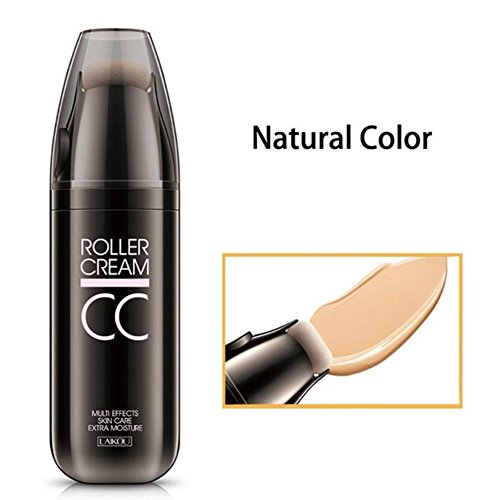 ZeHui CC Cream Concealer Powder Foundation with Small Roller Sponge Puff Moisturizer Oil-control Lasting Nude Make-up 30g Natural Color