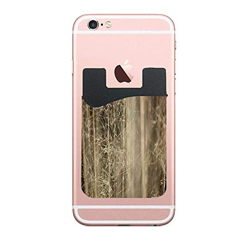 Two Adhesive Phone Stick On Wallet & RFID Blocking Sleeve,Wispy Grass Universally fits Most Cell Phones & Cases,Ultra-Slim,Tall Pocket Totally Covers Credit Cards & Cash (Wispy Leaf)