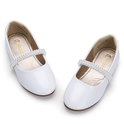 PANDANINJIA Toddler Girls Samantha Dress Shoe Wedding Party School Uniform Ballet Mary Jane Slip On Flats Shoes