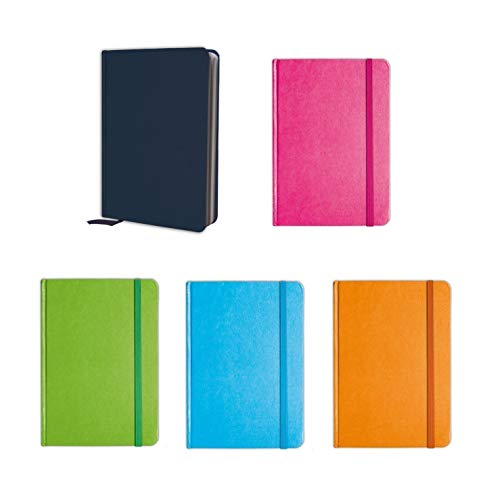 B-THERE Bundle of 5 Colorful Personal Notebooks, Notebook Set Lined Pages, Stationery Notepads w Textured Colored Covers, Elastic Band and Ribbon Bookmarks