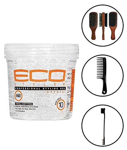 Eco Style Professional Styling Gel Krystal, 8 Ounce (Including Double Sided Edge Control Brush, Large Wide Tooth Detangling Shampoo Comb & 100% Boar 2-Sided Club Brush) Eco Styler Hair Gel (Best Eco Styler Gel For Edges)