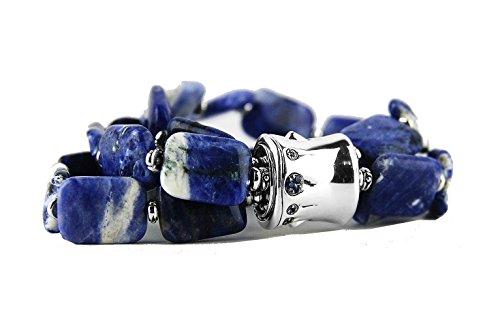 (HJ JOHN HARDY BAMBOO ST.SILVER BLUE SAPPHIRE BLUE & WHITE AGATE BRACELET NEW # 40B )