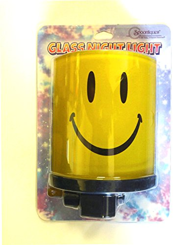 Spoontiques Smiley Glass Shielded Night Light with Swivel Feature and Light Bulb Included