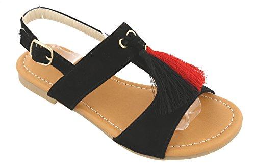 Big Buckle Sandals (Best Seller Bella Black Gladiator Round Toe Slip On Flat Low Heel Cut Out Open Toe Indian Embellished Roman Ankle Side Stap Buckle Shoe Soft Colorful Top Prime Sandal for Sale Big Girl (Size 2, Black))