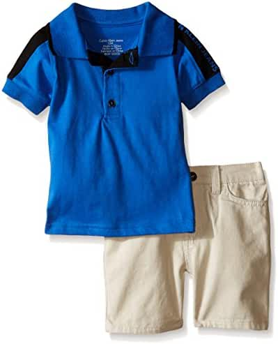 Calvin Klein Baby Boys' Blue Jersey Polo Shirt and Twill Shorts
