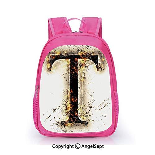Custom Kid's Backpack Waterproof Cartoon Picture,Scorching Letter T Symbol of Alphabet Design Worn Out Background Education Decorative Tan Black Orange,15.7inch,School Bag For Unisex Kids
